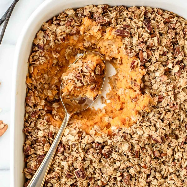 Vanilla Bean Healthy Sweet Potato Casserole with Crunchy Pecan Oat Topping