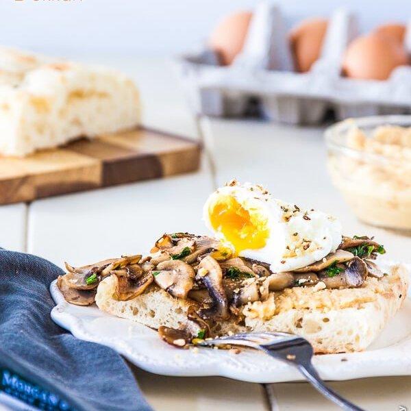 60 second microwave poached eggs with mushrooms, hummus & dukkah on Turkish toast