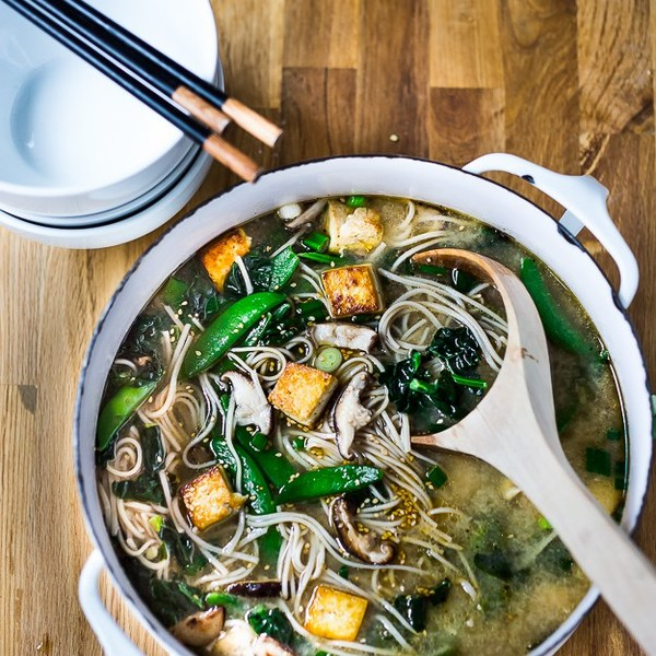 Ginger Sesame Soba Noodle Soup with Shiitakes & Greens