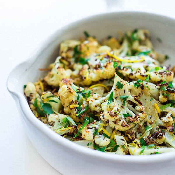 Roasted Cauliflower with garlic, lemon and caraway