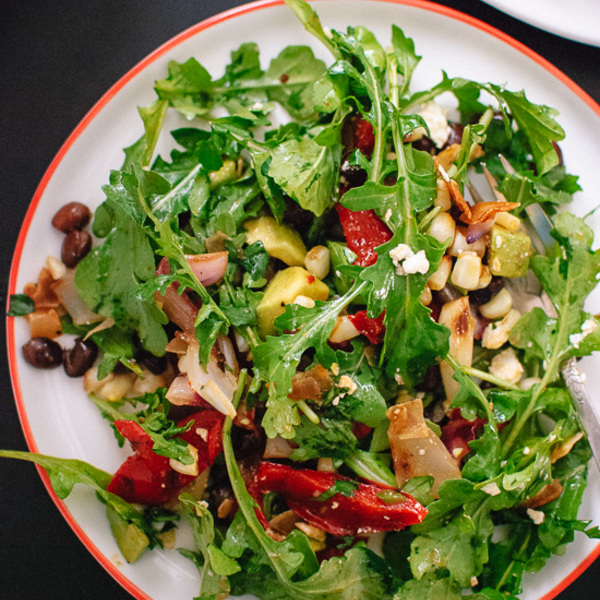 Grilled Summer Salad with Corn, Peppers and Chili-Lime Dressing
