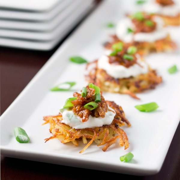 Potato Pancakes with Shredded Barbecue Pork