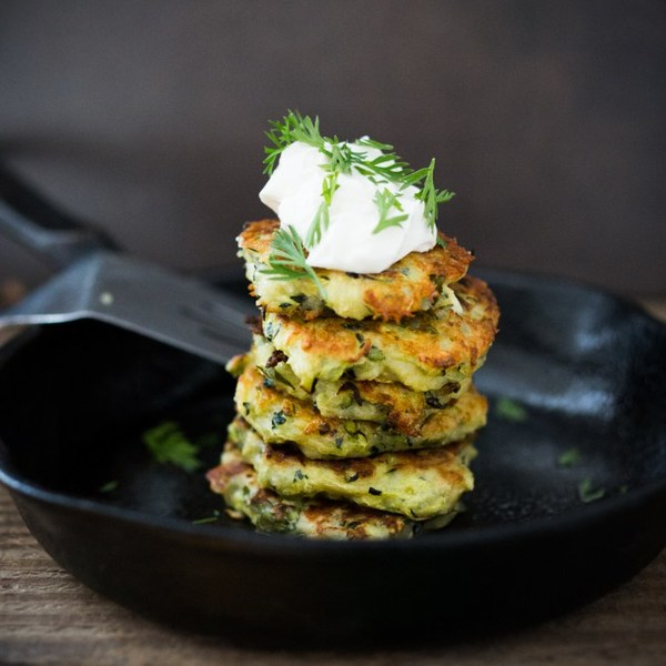 Zucchini Fritters with Dill, Feta and Tzatziki