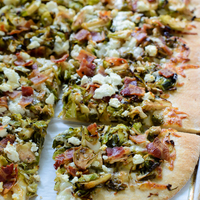 Balsamic Brussels Sprouts Bacon Pizza with Feta