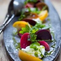 Heirloom tomato, Beet & Burrata salad w/ Basil oil