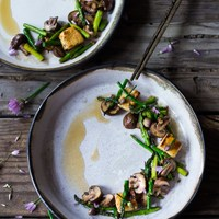Wok seared Asparagus and Mushrooms w/ Crispy Tofu