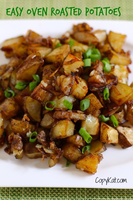 easy oven roasted potatoes on a white plate