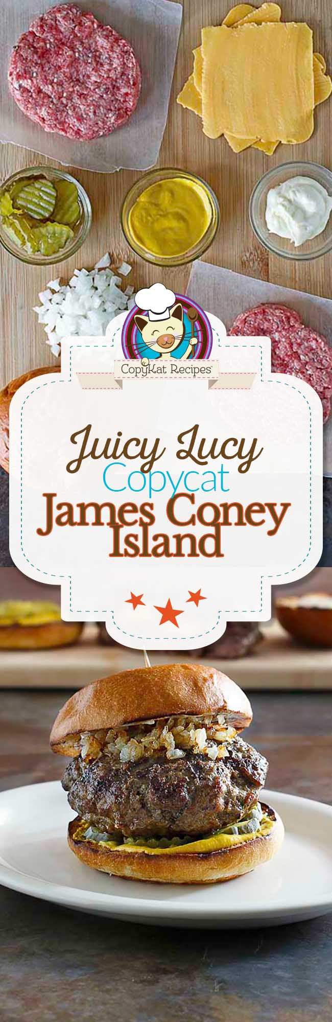 You can recreate the Juicy Lucy from James Coney Island.  Make this copycat recipe at home.