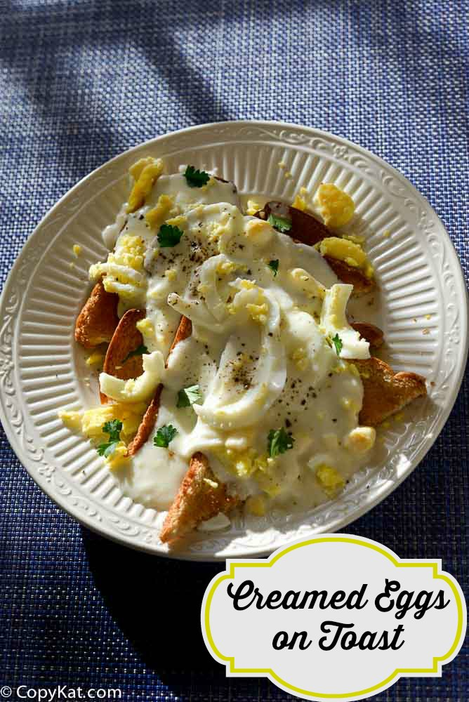 A plate of creamed eggs on toast (eggs goldenrod)