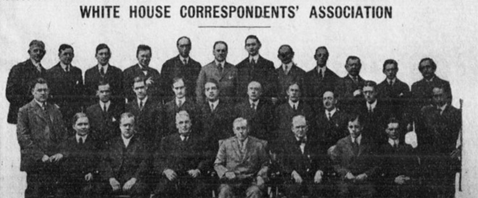 This photo depicts the White House Correspondents' Association soon after its founding. Source: Chronicling America: Historic American Newspapers. Library of Congress.