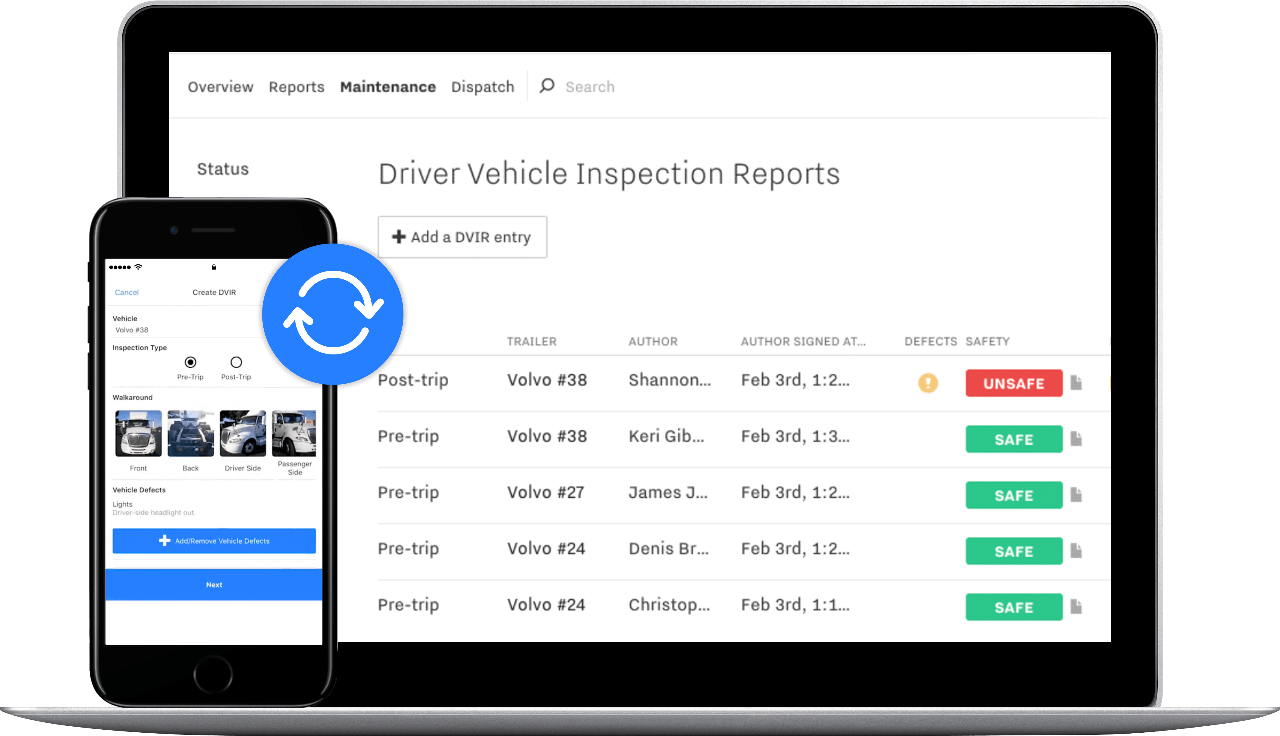Driver app syncing to the Driver Vehicle Inspection Report on the dashboard.