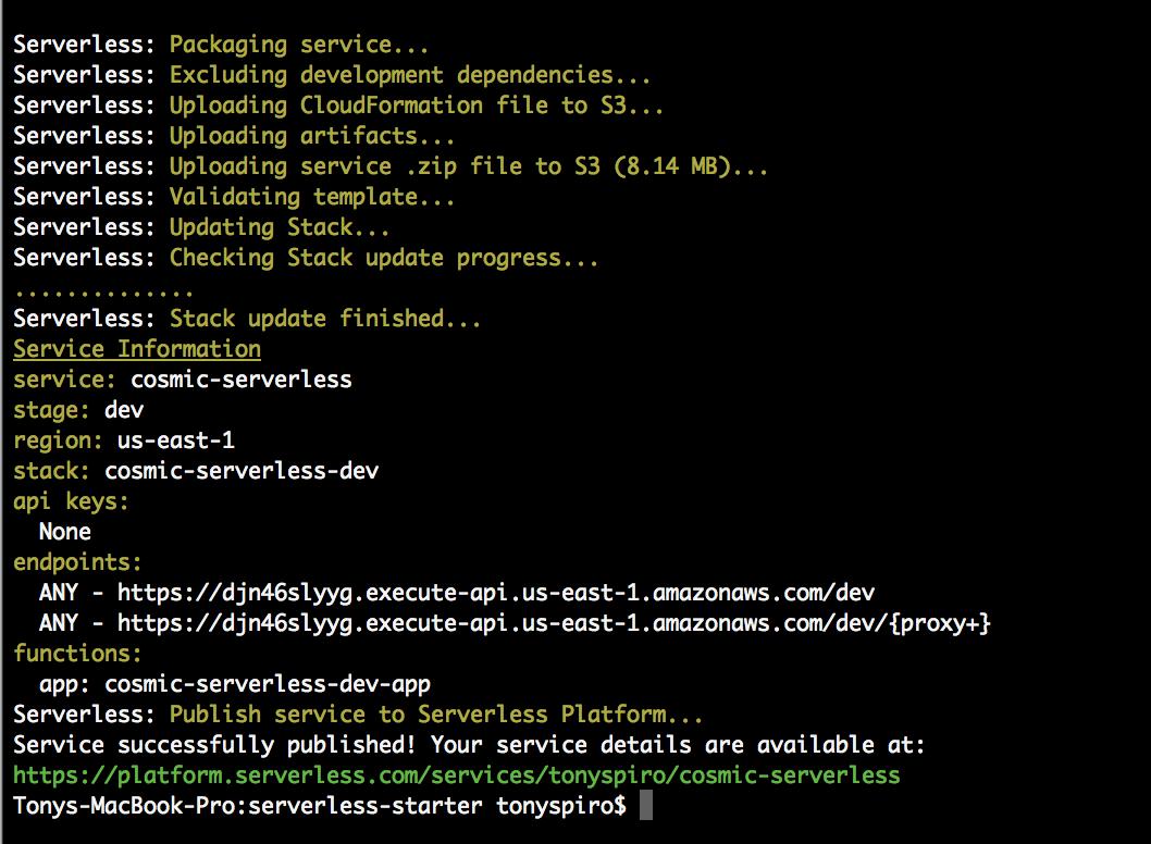 Serverless Output