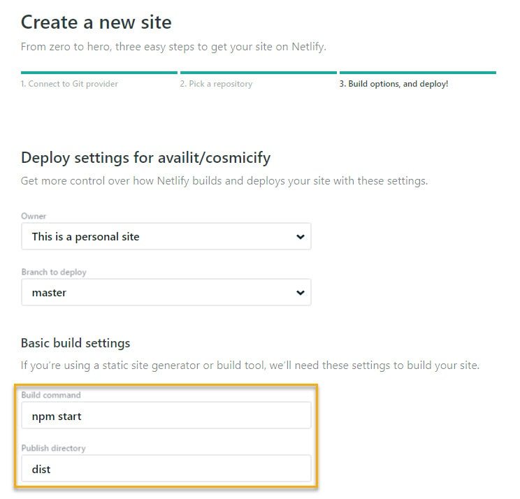Netlify New Site Configuration