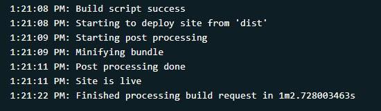 Netlify build log