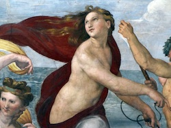 This portion of the painting features Galatea. This fresco illustrates how art has become more realistic.