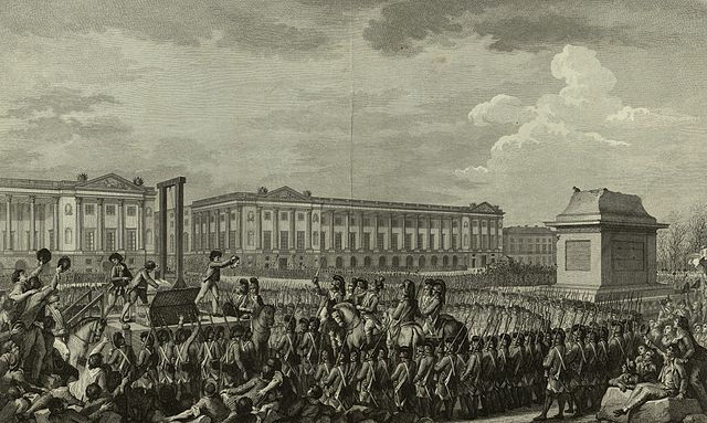 Soldiers surround a guillotine. A man can be seen holding Louis XVI's head for the crowd to see.
