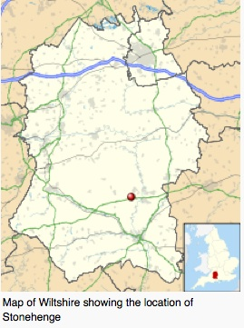 Map of Wiltshire showing the location of Stonehenge. It is in the southwest area of England