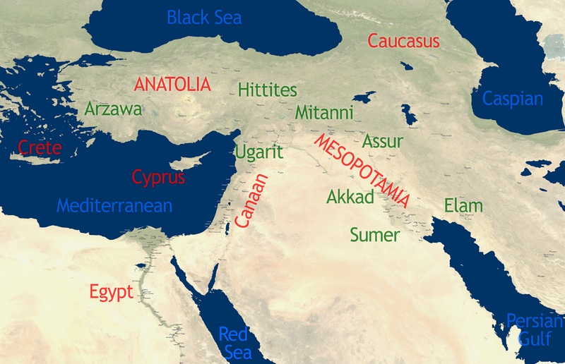Notable locations include Egypt, Crete, Cyprus, Canaan, Anatolia, Mesopotamia, and the Caspian Sea