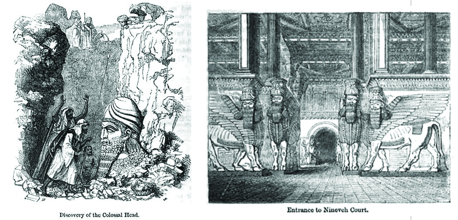 Two illustrations: the discovery of the colossal head and the entrance to the Nineveh court.