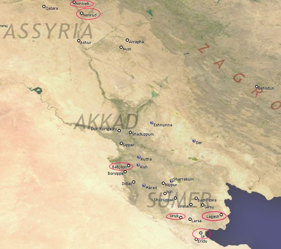 Map of the region of Sumer. Notable cities, such as Nineveh, Ur, Uruk, Babylon, and Lagash are circled.