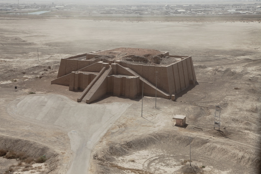 The area around the ziggurat is empty desert.