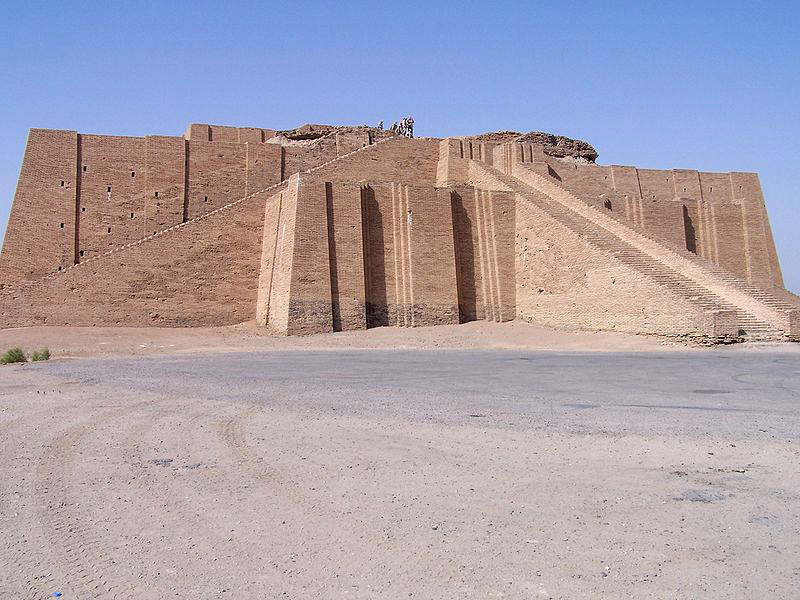 The partially restored ziggurat appears clean; there is still evidence of restoration work being completed on the top of the ziggurat