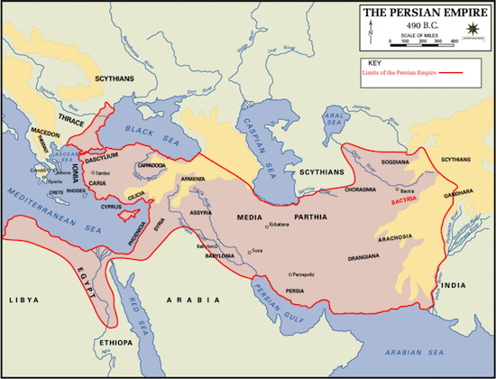 The empire encompasses the near east, parts of southeast Europe and Egypt.