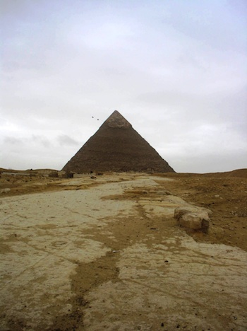 A long distance shot of the pyramid