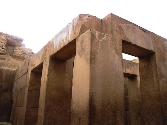 Large pillars creating rectangular walkways