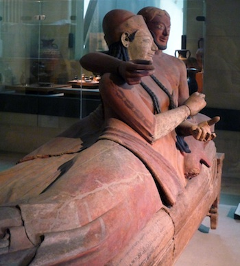 Another angle of the sarcophagus, focusing on the the couple's relaxed position