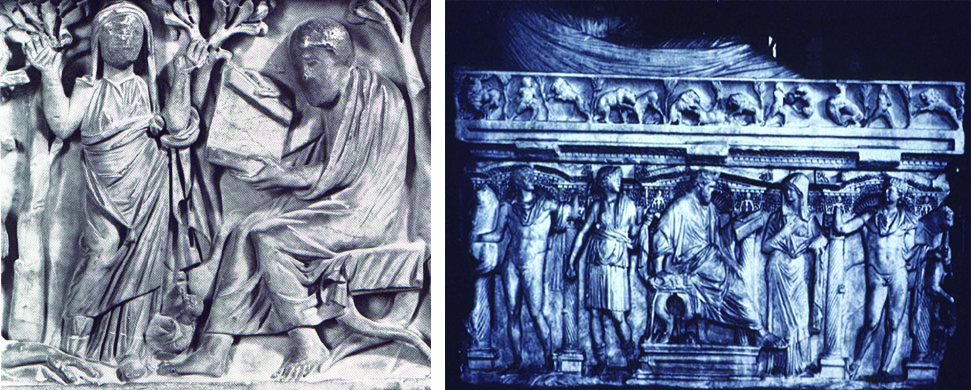 The left image shows a standing female figure appears next to a seated, bearded male figure holding a scroll. The right figure shows a seated beard male figure writing while surrounded by other standing individuals.