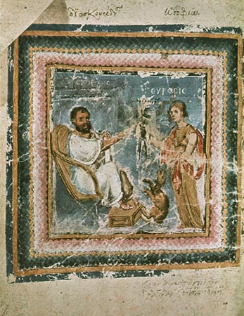 A painting of Dioscorides being inspired by a muse