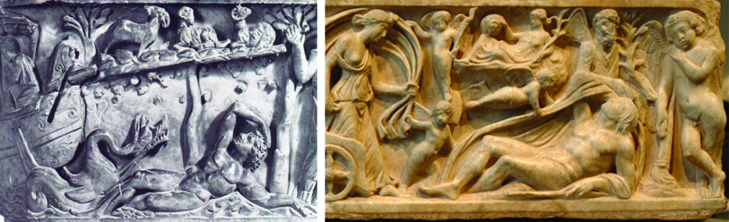 The pose of both Jonah and Endymion is nearly identical, with both stretched out on the ground, leaning on their left arms with their right over their head. Jonah is surrounded by the ship and ivy, while Endymion is surrounded by other figures from his myth.