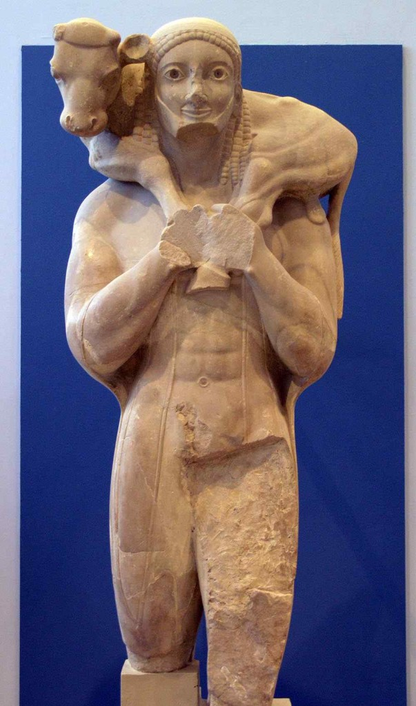 """Greek statue of a young man with a calf slung over his shoulders in the same manner depicted in """"the good shepherd."""""""