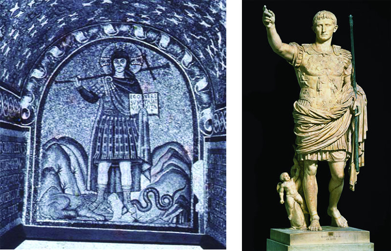The left painting depicts Christ in typical roman soldier clothing holding a cross over his shoulder and a book in his hand. He is stepping on both a lion and a snake. The sculpture on the right depicts Augustus wearing similar clothing to the Christ painting, with his hand outstretched pointing. His other hand is positioned to hold something, which has been removed by time.