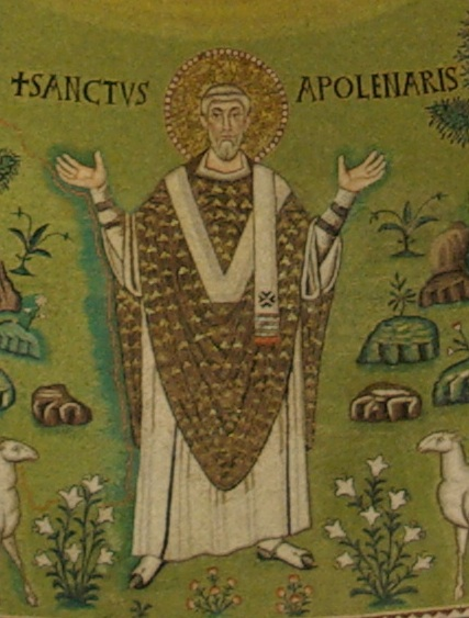 Depiction of a saint. This mosaic does not attempt to appear realistic, but instead is representative.