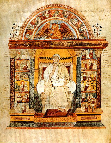 An intricate illustration of Saint Luke. He is seated with an open book in his lap. He is framed by miniature Christian scenes.