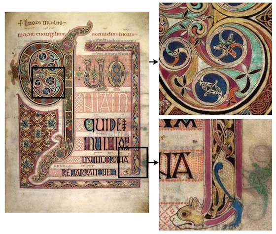 The first page of the gospel of Saint Luke is repeated with close up frames of different portions showing the bird heads in the center of a G and a cat's head with a bird above it forming the frame of the page.
