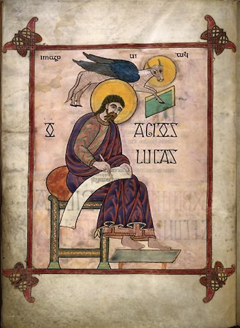 Saint Luke writing on a roll of parchment. His head is surrounded with a yellow halo, indicating his divinity. A flying ox is behind him. It has a halo as well.