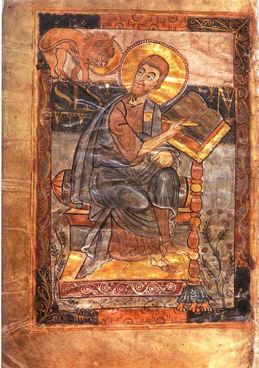 Saint Mark writing his gospel. A lion sits in the upper left corner of the page. Both Saint Mark and the lion have halos indicating divinity. The halos are gold leaf. The entire page has a warm-colored scheme.