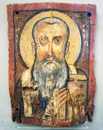 Painting of Abraham, with his typical grey beard. He has a halo behind his head.