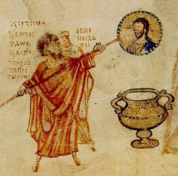 John the Grammarian holds a painting of Christ over a tureen.