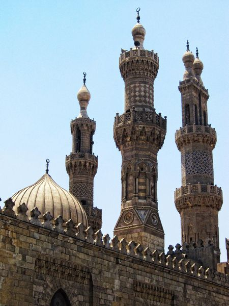 These minarets are more intricate than those examined previously on this page. There are three in this photograph, and each varies from the others in its design and shape. Each design relies heavily on geometric patterns for its artistry.