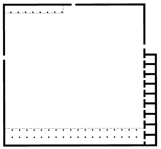 A simple diagram. The house is a single room with notation on the top and bottom for covered areas. On the right, there are several alcoves.