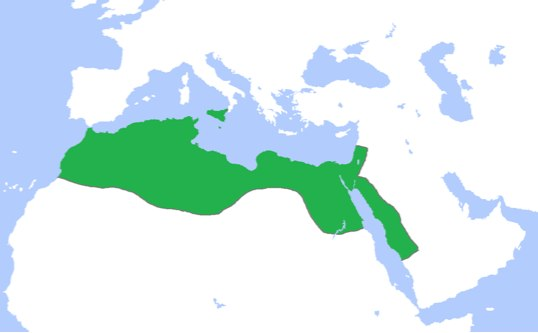 The territory covers the northern portion of Africa (this portion ends before the lowest border of modern Egypt), and a narrow strip of Saudi Arabia, as well as modern Israel and Jordan.