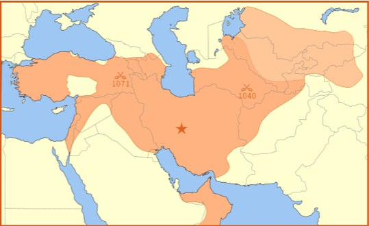 "The territory covers a large portion of what is now considered ""the middle east."" However, it excludes the majority of Saudi Arabia, and it extends into Russia."