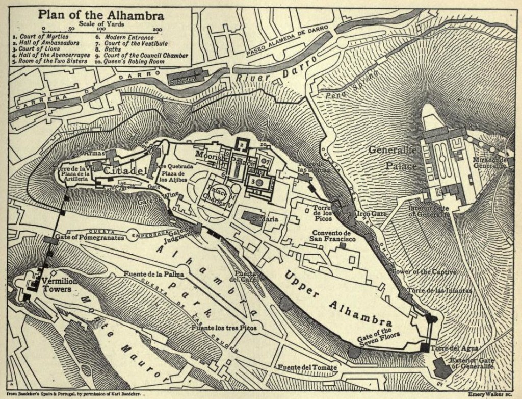 A map of the complex including the three upper Alhambra palaces and the Generalife palace. There are pathways connecting the buildings