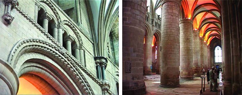 Left: A close up of an arched entryway. The arch has geometric embellishments, but they are subtle. Right: The aisle ceiling has orange stained glass allowing those walking it to be bathed in orange light.