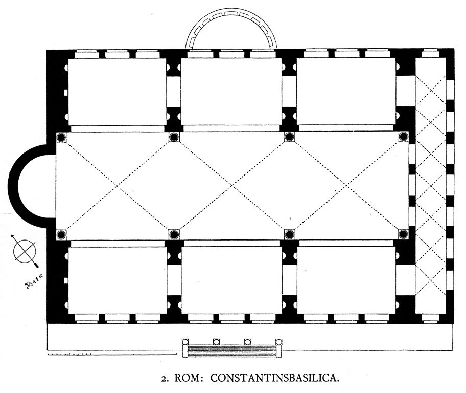 A typical basilica floor plan. The basic structure is a rectangle, with an entrance on one of the longer sides of the building. There is a semi-circle porch directly across the basilica from the entrance. The aisles and the nave point toward the side of the building rather than the entrance. The ambulatory is at the head of the nave, on one of the short sides of the basilica. There is another aisle at the remaining side of the basilica.