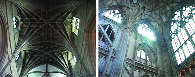 (Left) Thin supporting vaults in the ceiling. Despite being there for support, these vaults have been placed to be decorative. (Right) Criss-crossing vaults over the windows.